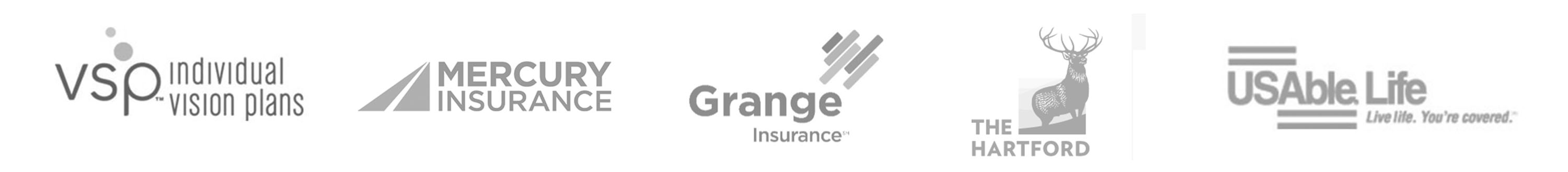 logos of VSP, Mercury Insurance, Grage Insurance, The Hartfod and USAble Life companies
